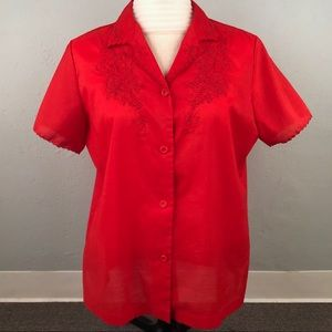 VTG Lily Women's Large? Blouse Red Embroidered